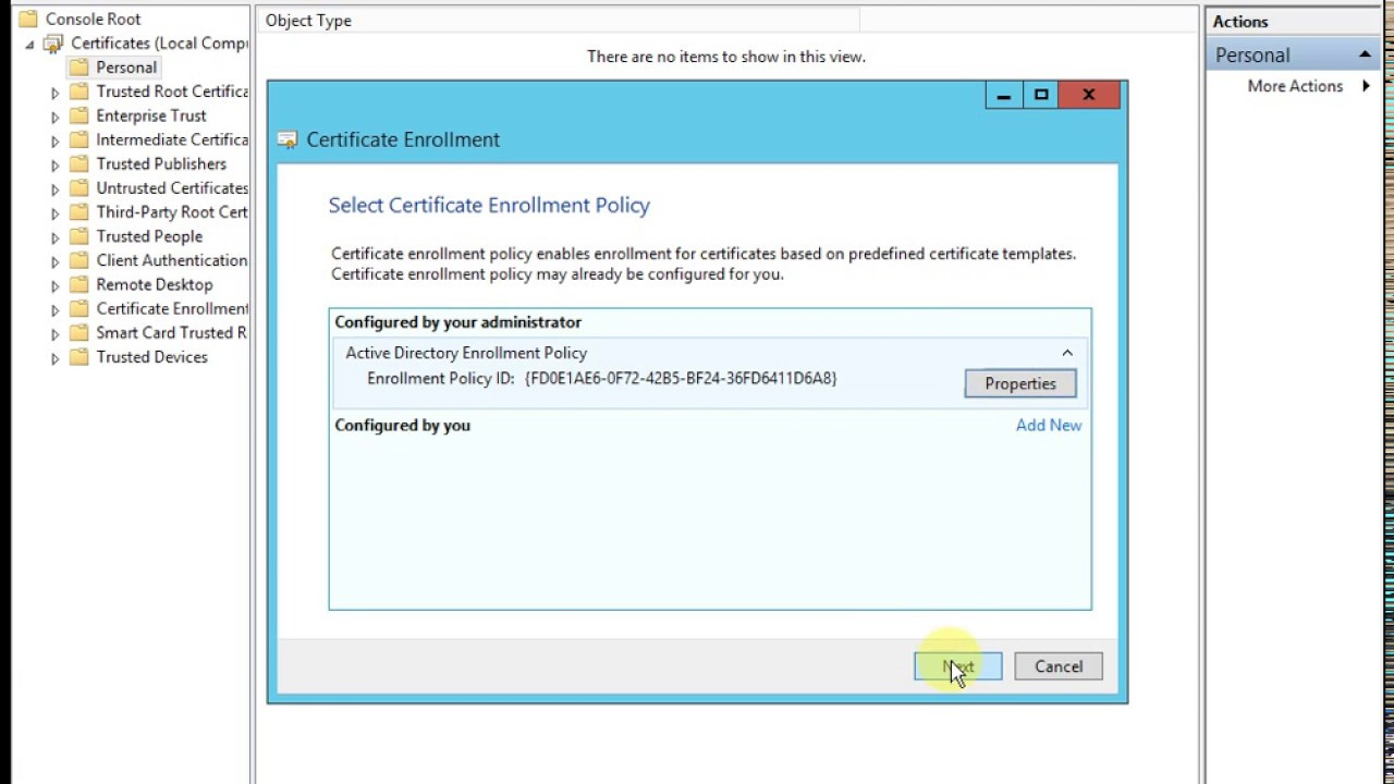 Requesting A Certificate For Radius Server Windows Server 2012 R2