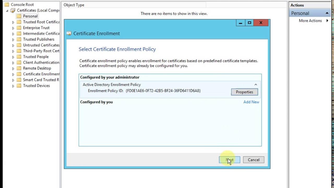 Requesting a certificate for Radius server - Windows Server 2012 R2