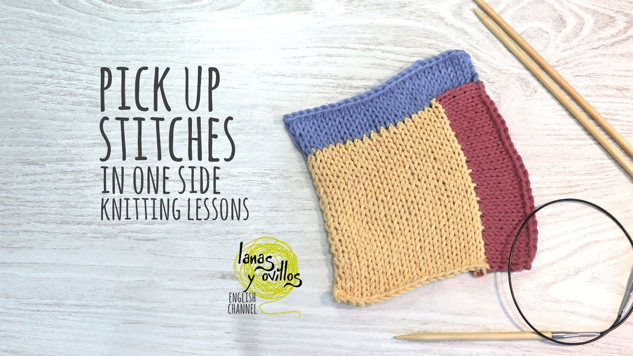 Picking Up Stitches When Knitting : Knitting Lessons - Pick Up Stitches in One Side Knitting - YouTube