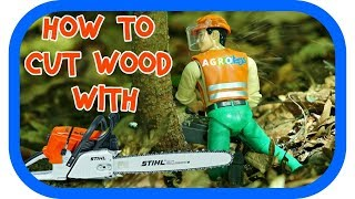 BRUDER TOYS │ HOW TO CUT WOOD WITH A CHAINSAW │ TOY CHAINSAW