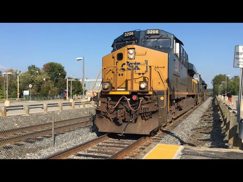 Two CSX Trains in five Minutes at Ashland Massachusetts!! B722 and Q437
