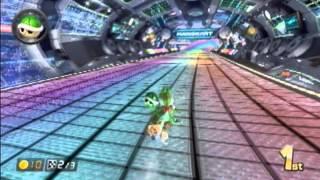 Mario Kart 8 - Rainbow Road Practice (Yoshi + Yoshi Bike)
