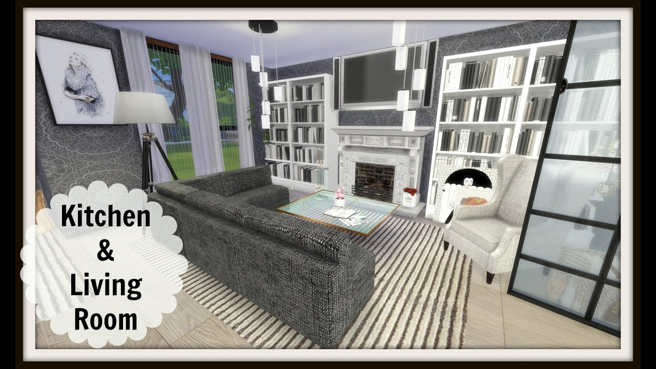 Modern Kitchen Living Room sims 4 - speed build - modern kitchen & living room - youtube