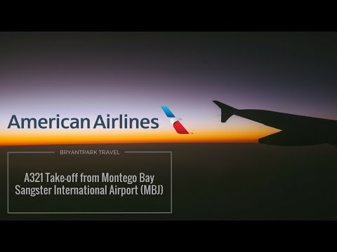 American Airlines A321 Take-off from Montego Bay Sangster International Airport (MBJ)