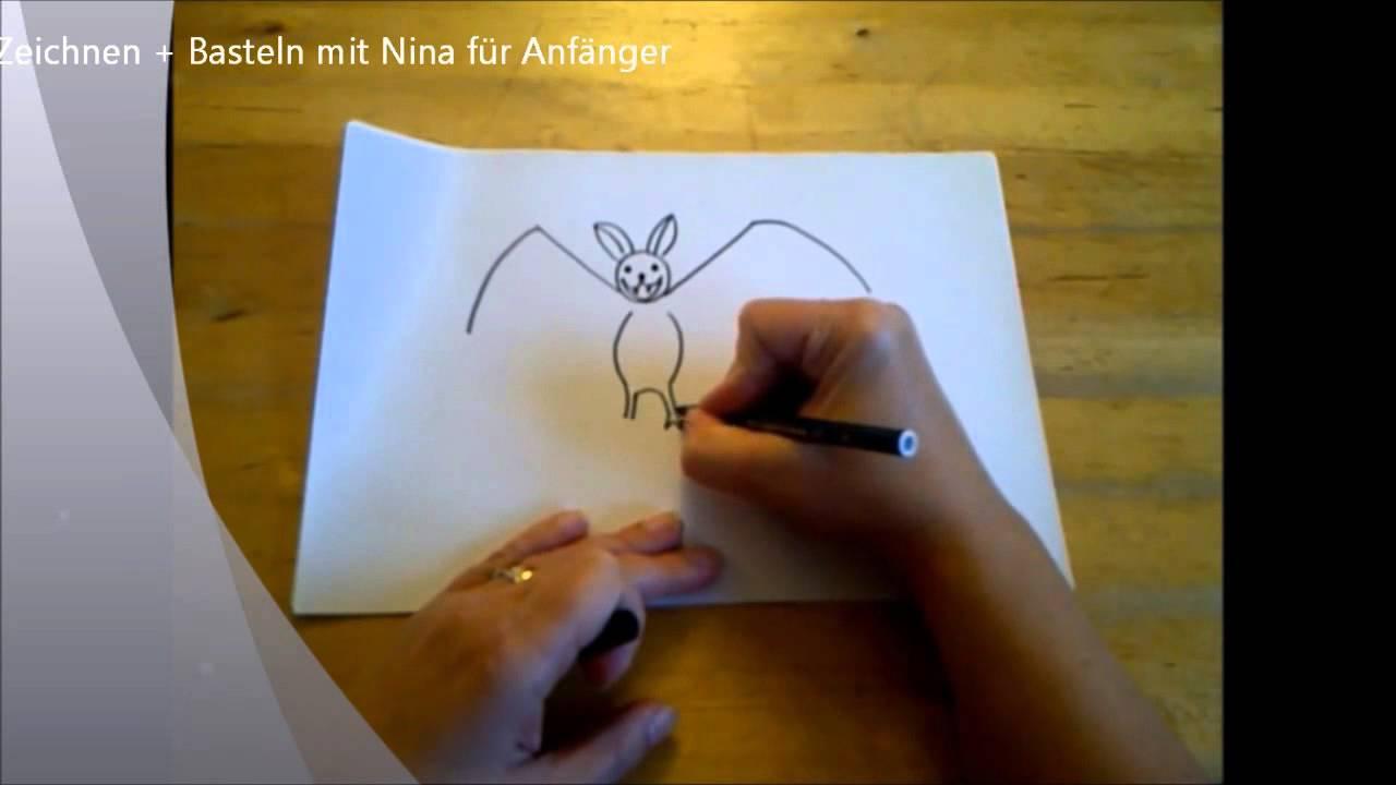 Fledermaus für Halloween zeichnen. (Für Anfänger) How to Draw ...