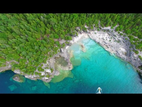 Best Camping In Ontario >> Cyprus Lake Grotto (Tobermory) at the Bruce Peninsula - The Best Drone Video 4K UHD - YouTube