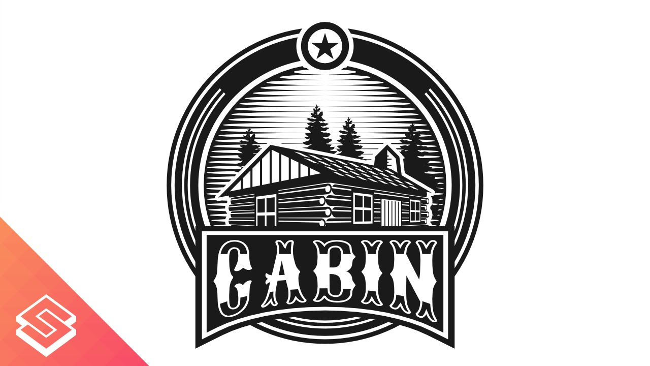 Logo Design Time Lapse In Inkscape Log Cabin Youtube