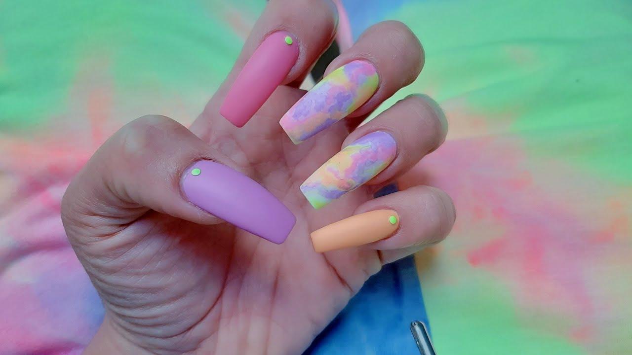 Uñas Tie Dye con Pinturas Acrilicas - YouTube
