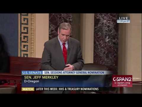 Jeff Merkley reads Coretta Scott King's letter about Jeff Sessions