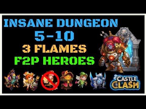 INSANE DUNGEON 5-10 - 3 FLAMES - F2P HEROES - NO NUB - MECHTESSA - CASTLE CLASH