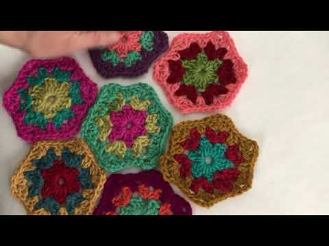 Crochet Hexagon Afghan Sewing Pieces Together Youtube