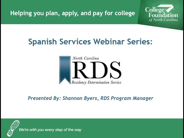 CFNC: Webinar - Residency Determination Service (RDS) with Shannon Byers