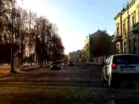 Road accident, weather and downtown, Vilnius, Lithuania 2010-01-22