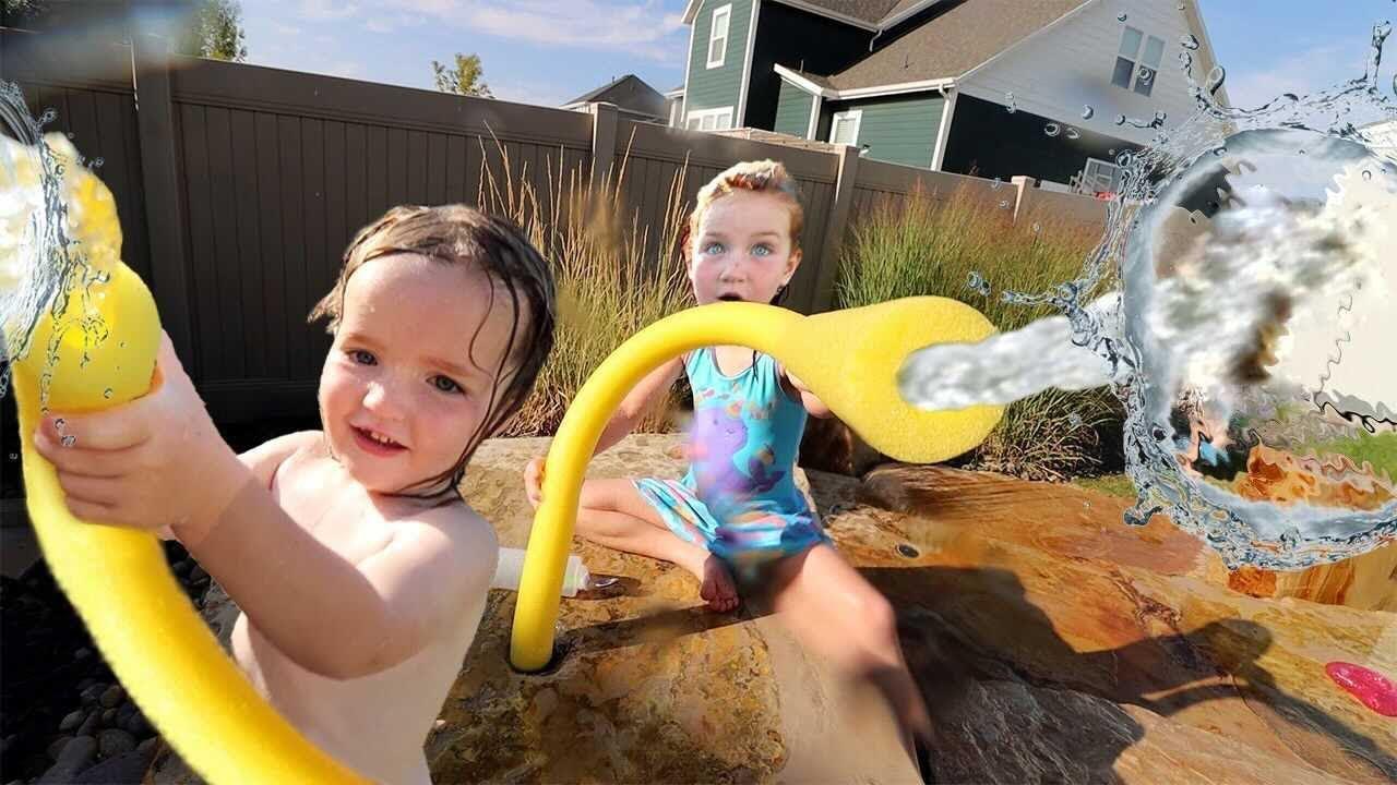 Backyard WATER GAME!!  Weekend family routine, Navey Walking, Duck Park, Bear Breakfast & Swimming!