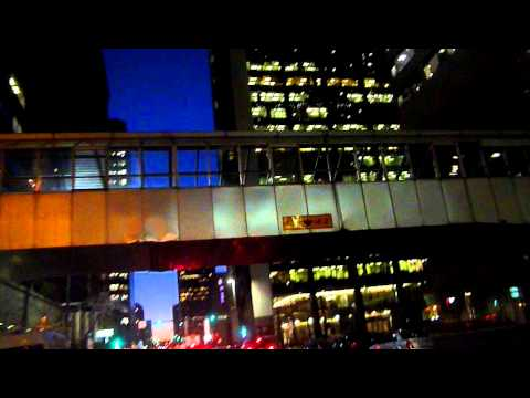 Driving Through Downtown Calgary At Night