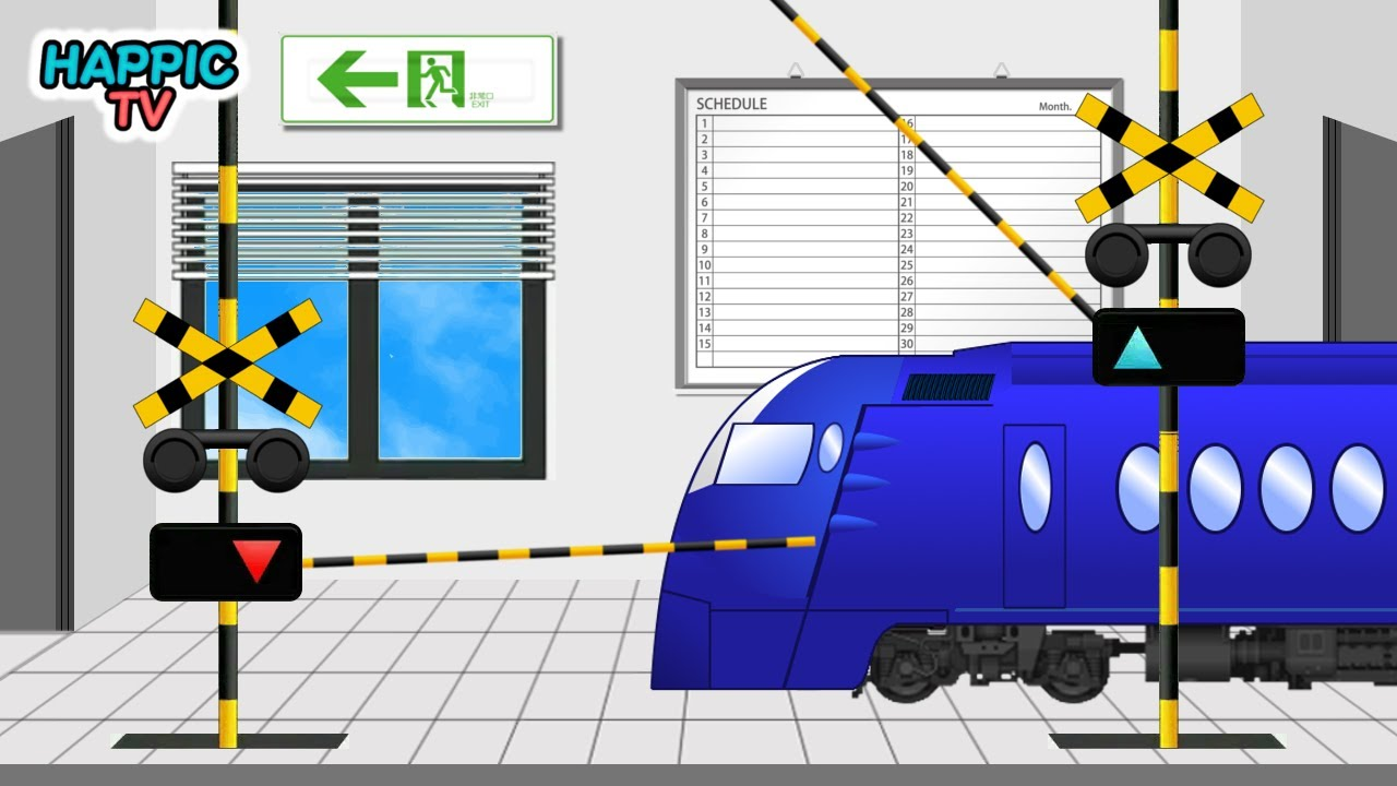 【踏切アニメ】ビルの中にある踏切 | 新幹線 | 電車 / Railroad Crossing & Train Anime for Kids - Crossing in Building -