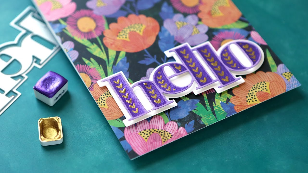 Painted Diecut Greeting + Patterned Paper