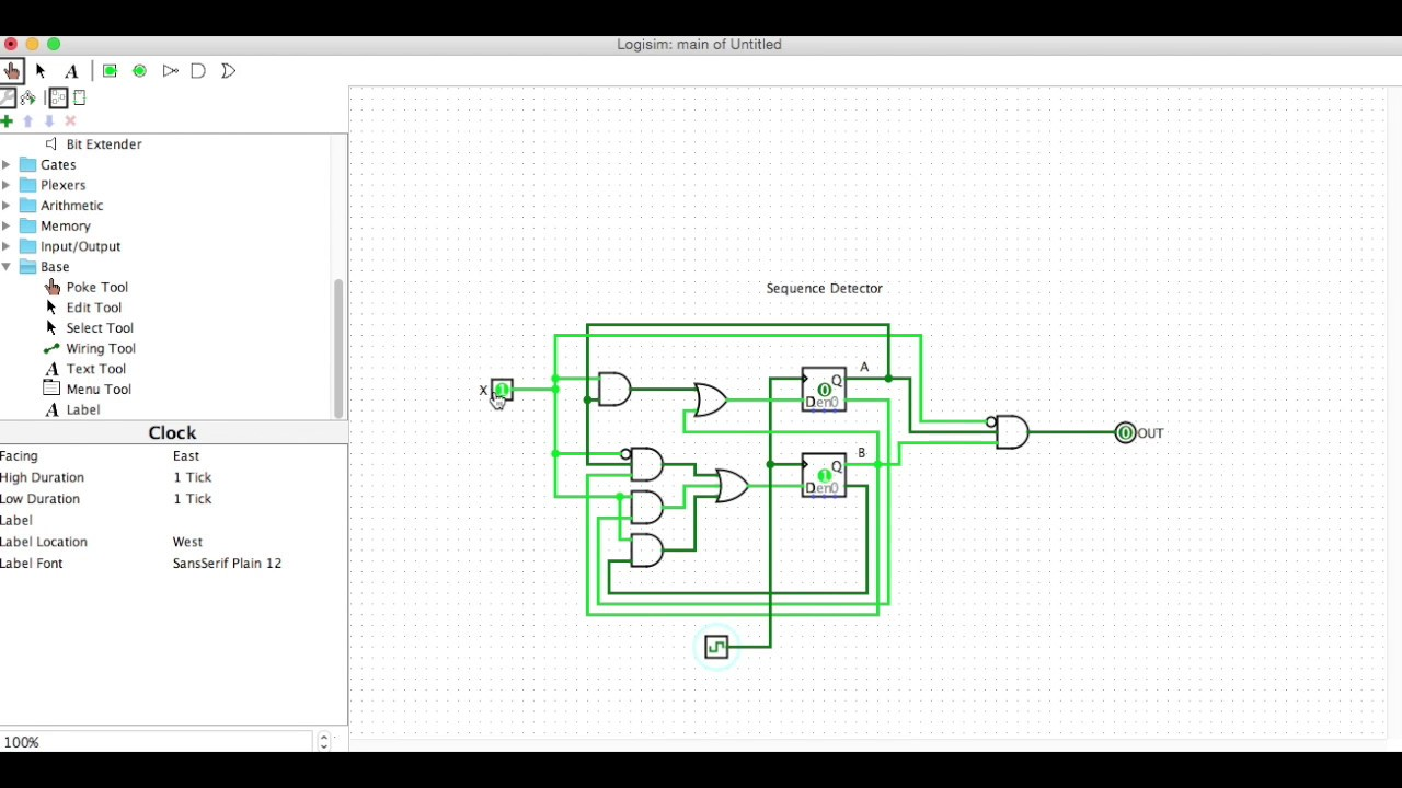 Logisim Sequence Detector Example  YouTube