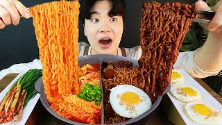 ENG SUB) ASMR MUKBANG TRUFFLE OIL BLACK BEAN NOODLES & SPICY NOODLES & Egg, SPAM EATING SOUND!