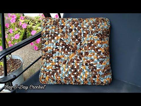 How To Crochet An Easy Throw Pillow - Bag O Day crochet Tutorial #625