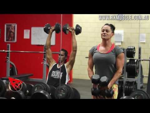 Rx Muscle Australia: Amy Fox 14 weeks out (Delts & Calf Training)