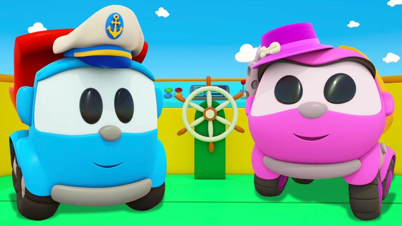 Léo constrói uma balsa para navegar até a ilha! Desenho animado para crianças
