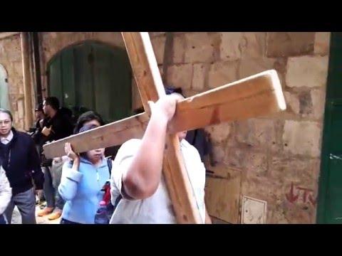 A Catholic procession at the Via Dolorosa, Jerusalem Israel
