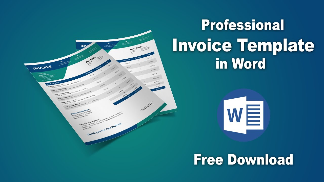 How To Create Your Own Professional Invoice Template In Microsoft Word Youtube