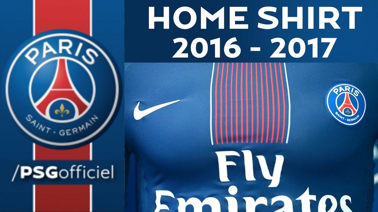 home shirt 2016 2017 paris saint germain youtube. Black Bedroom Furniture Sets. Home Design Ideas