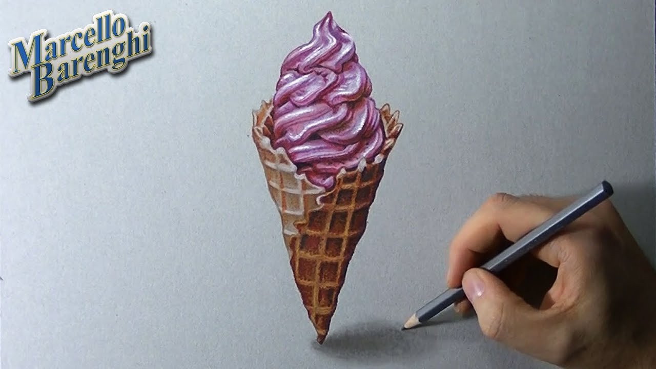 Uncategorized Drawings Of Ice Cream how to draw a 3d ice cream cone youtube