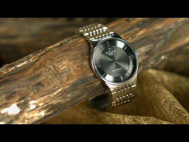 St. Leonhard Herren-Armbanduhr aus Edelstahl, wasserdicht bis 3 atm