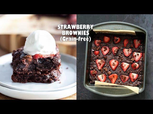 STRAWBERRY BROWNIES - Glutenfree Grainfree | Vegan Richa Recipes