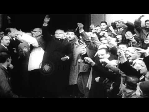 Street riots and Labor Confederation headquarters looted after Juan Person ousted...HD Stock Footage