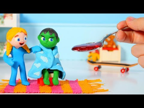 SUPERHERO BABY GETS WELL AFTER A COLD  鉂� Superhero Babies Play Doh Cartoons For Kids