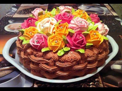 Торт На 8 Марта Корзина Роз/Домашний Торт/Пошаговый Рецепт(Cake basket of roses/Fruit Cake Recipe)