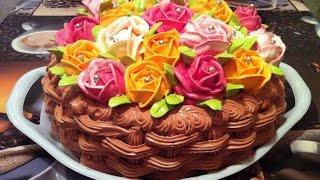 "Торт ""Корзина Роз"" / Торт На 8 Марта / Домашний Торт / Cake basket of roses / Fruit Cake Recipe"