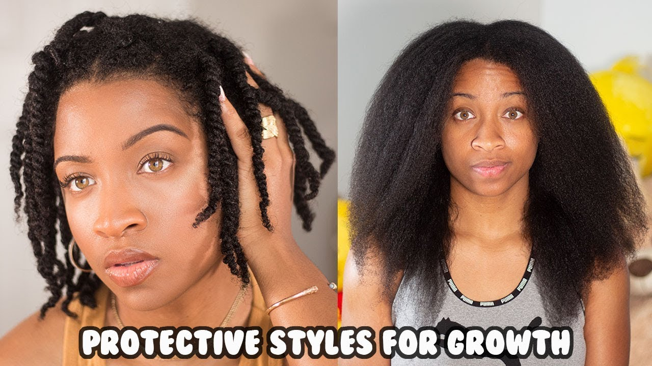 How I Used Protective Hairstyles To Grow My Short Natural Hair Type 4 Youtube