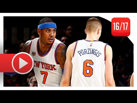 Carmelo Anthony & Kristaps Porzingis Full PS Highlights vs Wizards (2016.10.10) - 34 Pts Total