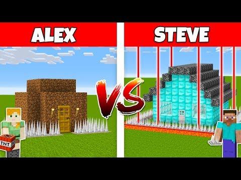 MINECRAFT - ALEX vs STEVE!  THE WORLD'S SAFEST HOUSE IN MINECRAFT - The Best Episodes