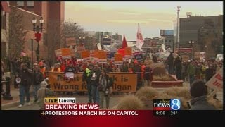 Right-to-work protest march Part 1