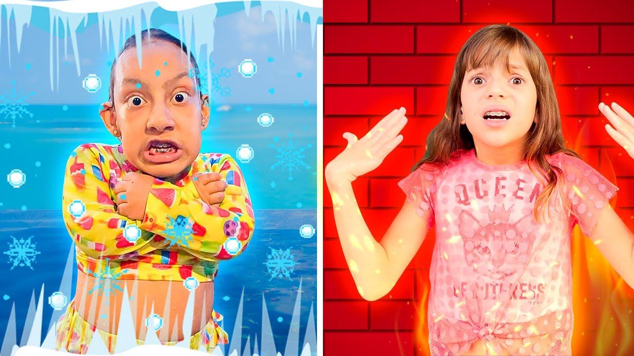 Maria Clara, Jessica e papai na História Engraçada do QUENTE VS FRIO | Hot vs Cold - MC Divertida