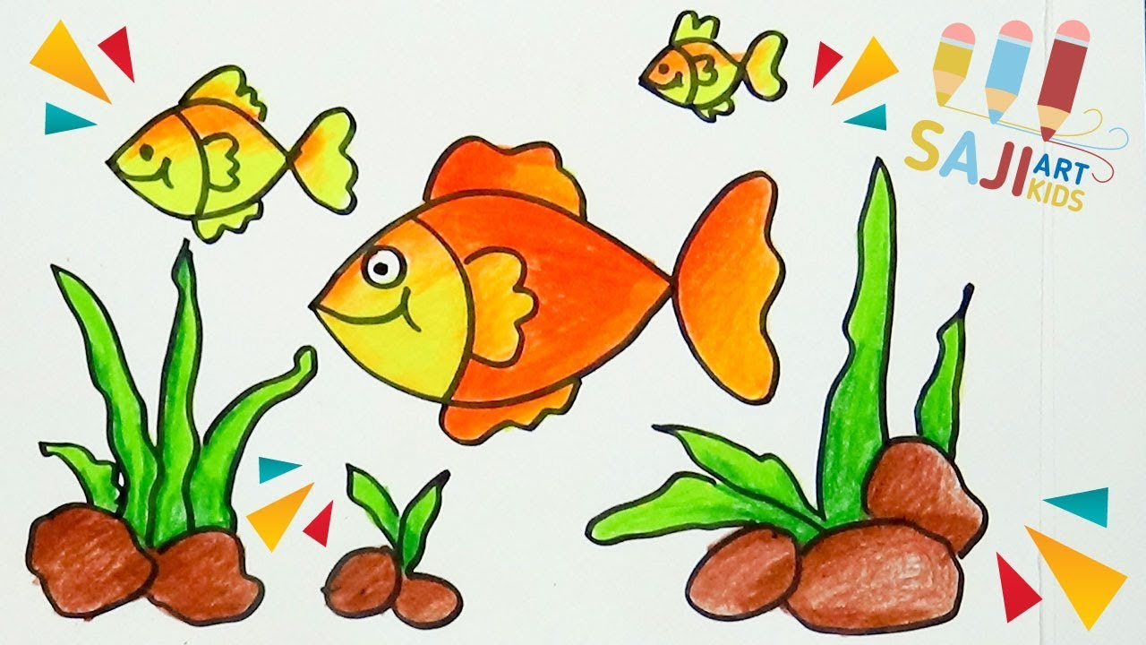 วาดร ประบายส ไม สวยๆ วาดปลาทองง ายๆ How To Draw A Goldfish Easy Step