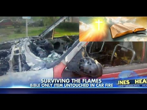 Bible Miraculously Untouched After Vehicle Bursts into Flames Inside of Vehicle is Unrecognizable