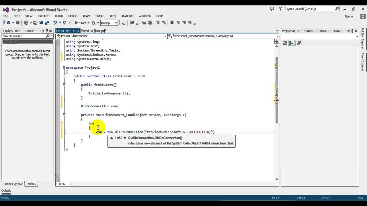 Advanced C# Tutorial 19 2 Project1 Create OleDb Connection in C# Programming