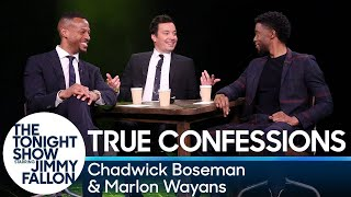 Jimmy, Chadwick Boseman and Marlon Wayans play a game where they take turns confessing a random fact before interrogating each other to determine who ...