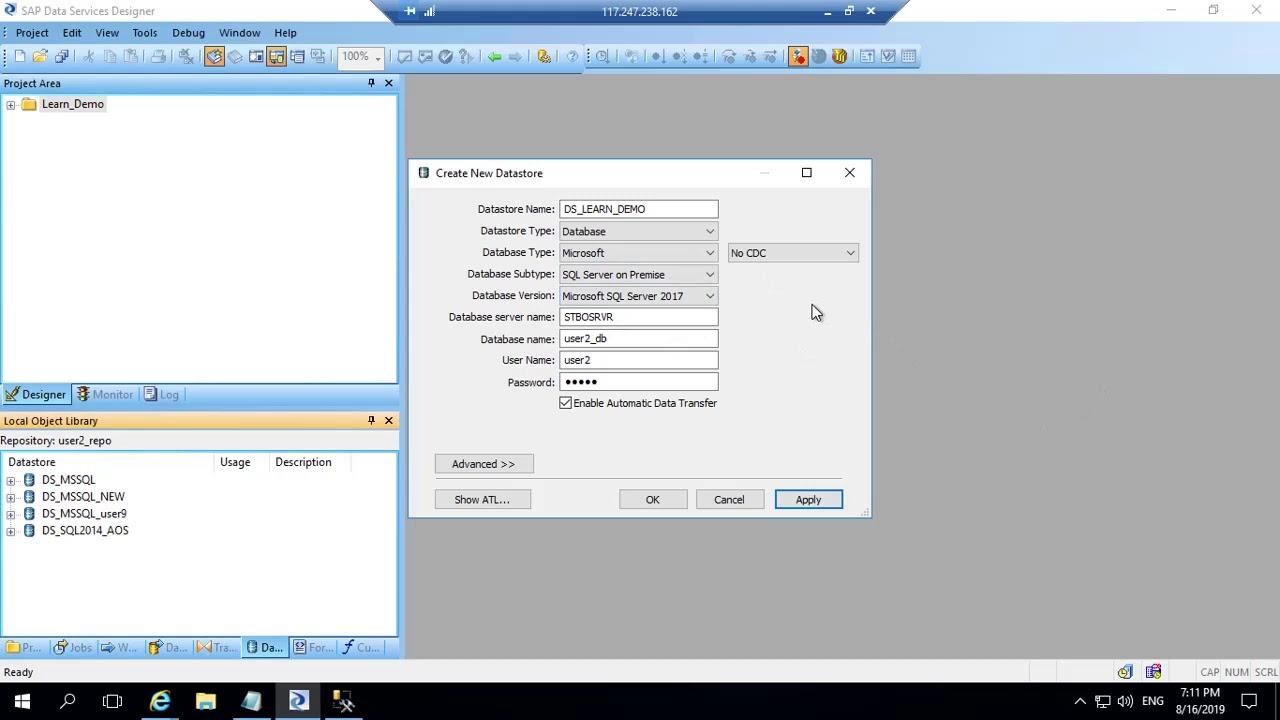 Download SAP BODS (BO data Services) : Create DataStore