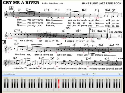 Cry Me A River Piano Jazz 70 BPM With Chords and Melody Sheet (Difficulty **)