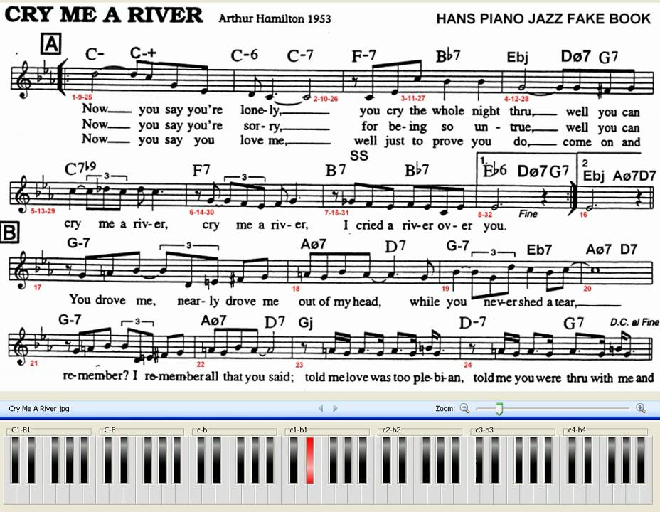 Cry Me A River Piano Jazz 70 Bpm With Chords And Melody Sheet Difficulty Youtube