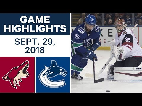 NHL Pre-season Highlights   Coyotes vs. Canucks - Sept. 29, 2018