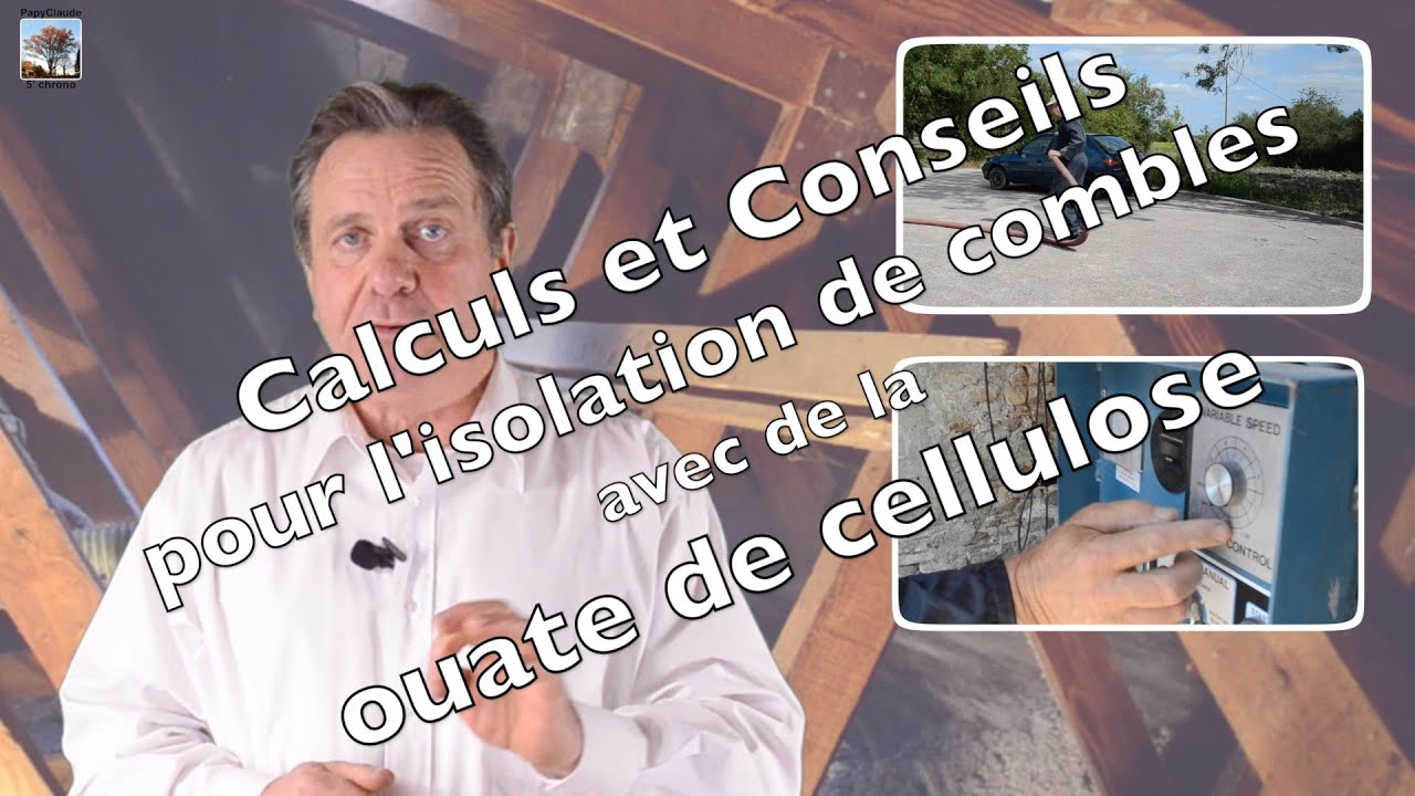 calculs et conseils pour l 39 isolation de combles avec de la ouate de cellulose youtube. Black Bedroom Furniture Sets. Home Design Ideas